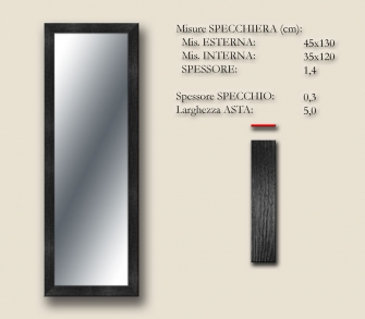 MIRROR BOSTON BLACK 45x130